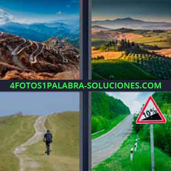 4 Fotos 1 Palabra - seis-letras caminos montaña. Senderos en la sierra. Campos de cultivo en la naturaleza. En bicicleta por el campo. Carretera con un 10% de desnivel.