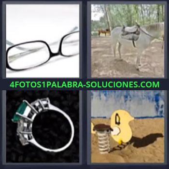 4 Fotos 1 Palabra - cinco-letras lentes caballo anillo. Gafas o lentes. Sortija o anillo. Parque con columpios infantiles.