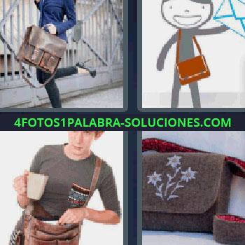 4 Fotos 1 Palabra - ocho-letras cartera, dibujo de un cartero con una carta en la mano, bolso con flores, chica con maletín en la mano.