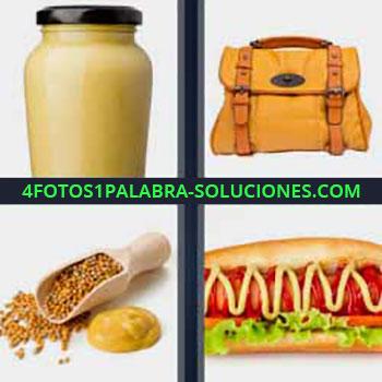 4 Fotos 1 Palabra - cinco-letras hot dog. Bote mayonesa. Bolso o cartera. Semillas. Perrito caliente o salchicha.