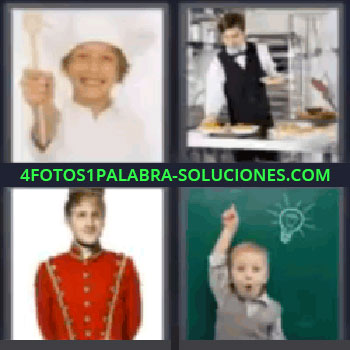 4 Fotos 1 Palabra - niño cocinero botones, Niño cocinero, Camarero, Botones, Niño delante de una pizarra verde.