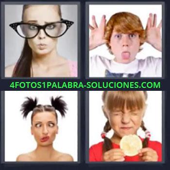 4 Fotos 1 Palabra - seis-letras chica gafas grandes, Niño burlándose, Chica haciendo gestos exagerados, Niña con ojos cerrados y galleta en la mano
