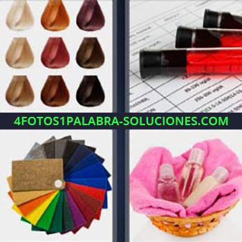 4 Fotos 1 Palabra - cuatro-letras colores pintura. Modelos de tintes de pelos diferentes. Tubos con sangre. Patrones de colores. Botecitos de champu y gel