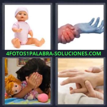 4 Fotos 1 Palabra - seis-letras manos juntas. Muñeco. Niña con manos sobre la cara.