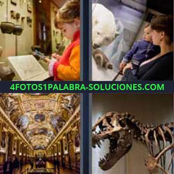 4 Fotos 1 Palabra - ocho-letras dinosaurio. Niña con ropa naranja. Madre y niño viendo oso polar. Interior edificio antiguo histórico. Esqueleto dinosaurio.
