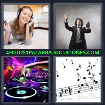 4 Fotos 1 Palabra - ocho-letras director de orquesta. Mujer con auriculares o audífonos. Disc jockey. Notas musicales.