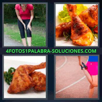 4 Fotos 1 Palabra - mujer corriendo, Pollo con lechuga, Plato de comida con pavo o pollo, Chica estirando para hacer deporte.