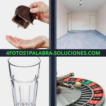 4 Fotos 1 Palabra - monedero. Habitación vacía. Vaso de cristal. Ruleta de casino.
