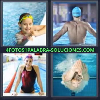 4 Fotos 1 Palabra - nadando, Niña en la piscina, Hombre con gorra azul, Mujer en alberca, Hombre buceando.
