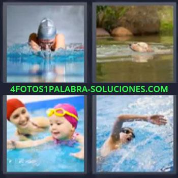 4 Fotos 1 Palabra - natacion, Perro en lago, Niña con madre en la piscina, Chico en alberca.