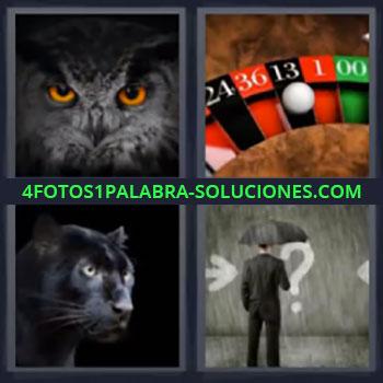 4 Fotos 1 Palabra - cinco-letras buho, Ruleta, Pantera, Búho negro, Señor de negro