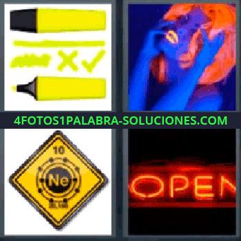 4 Fotos 1 Palabra - siete-letras letrero open, Subrayador o rotulador amarillo fosfit, Mujer con peluca roja toda azul, Letrero Ne, Luminoso de abierto open.