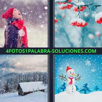 4 Fotos 1 Palabra - nieve arbol. Mujer mirando arriba como nieva. Ramas de árbol con hielo. Cabaña y bosque nevados en invierno. Dibujo muñeco de nieve.