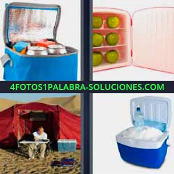 4 Fotos 1 Palabra - siete-letras carpa o tienda de campaña. Bolsa con refrescos. Pequeño refrigerador con hielo.