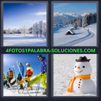 4 Fotos 1 Palabra - seis-letras bosque invierno, Paisaje con cabañas nevadas, Personas esquiando, Muñeco de nieve