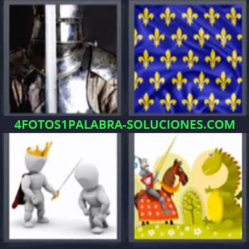 4 Fotos 1 Palabra - cuatro-letras armadura, Bandera antigua, Dibujo rey con espada, Guerrero contra dragon