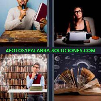 4 Fotos 1 Palabra - cinco-letras libros. Hombre micrófono libro. Mujer escribiendo a máquina. Señor con librería de fondo. Páginas de un libro abierto.