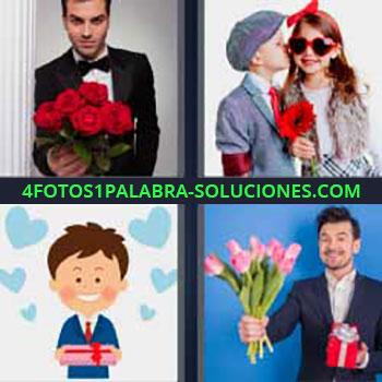 4 Fotos 1 Palabra - ocho-letras esmoquin y ramo de rosas rojas. Niño besando a niña. Dibujo de enamorado. Joven con regalo y ramo de flores.