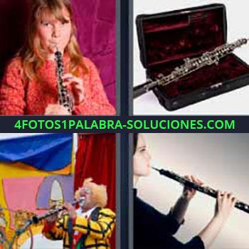 4 Fotos 1 Palabra - ocho-letras flauta. Instrumento musical. Instrumento de viento. Payaso tocando. Flauta travesera.