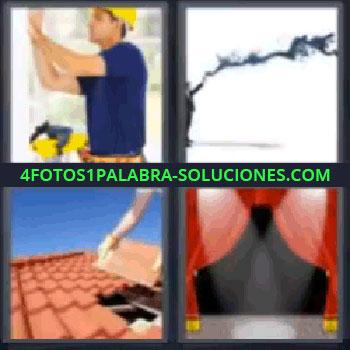 4 Fotos 1 Palabra - tejas telón, obrero reparando la pared, señor con humo negro, tejado, telón.