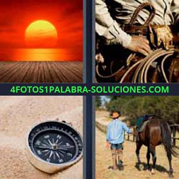 4 Fotos 1 Palabra - siete-letras atardecer brújula. Sol. Cowboy. Brújula en la arena. Hombre a caballo.