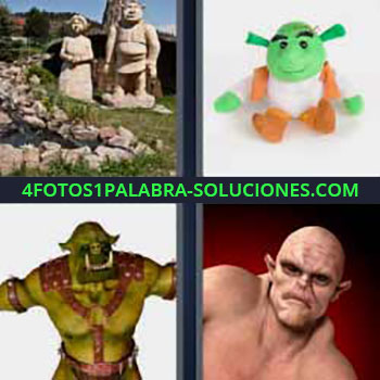 4 Fotos 1 Palabra - monstruo. Estatuas. Muñeco color verde. Monstruo fuerte.