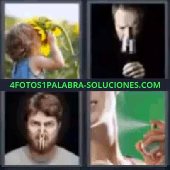 4 Fotos 1 Palabra - niña con girasol, Señor oliendo copa de vino, Chico con pinza en la nariz, Chica poniéndose perfume.