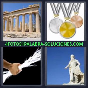 4 Fotos 1 Palabra - medallas colores, Ruinas griegas, Estatua