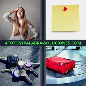 4 Fotos 1 Palabra - cinco-letras llaves carro o coche. Mujer mano en cabeza. Post it amarillo. Maleta en cinta aeropuerto.