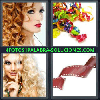 4 Fotos 1 Palabra - pelo rizado, Chica pelirroja con pelo ondulado, Serpentinas de colores, Chica rubia con pelo chino, cinta de película fotográfica.