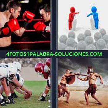 4 Fotos 1 Palabra - cinco-letras boxeo. Figura azul y roja. Rugby o futbol americano. Luchadores antiguos o gladiadores.