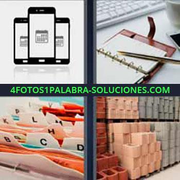 4 Fotos 1 Palabra - siete-letras celulares o teléfonos móviles. Agenda. Hojas con letras divisorias. Almacén o bodega.