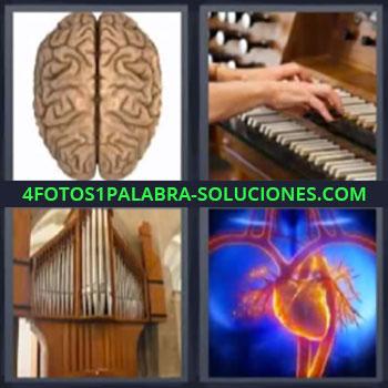 4 Fotos 1 Palabra - cinco-letras cerebro corazon, Piano, Instrumento musical.