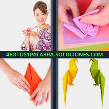 4 Fotos 1 Palabra - cuatro-letras japonesa o china. Haciendo figuras de papel. Papiroflexia. Pájaros de papel.