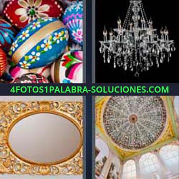 4 Fotos 1 Palabra - seis-letras lámparas. Huevos de pascua. Figuras pintadas de colores. Lámpara de cristal. Adornos. Decoración. Luminaria.