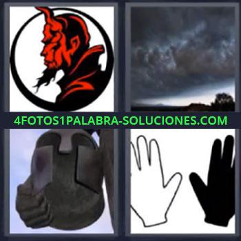 4 Fotos 1 Palabra - cinco-letras diablo casco. Dibujo diablo rojo. Nubes negras. Dibujo mano blanca y negra.