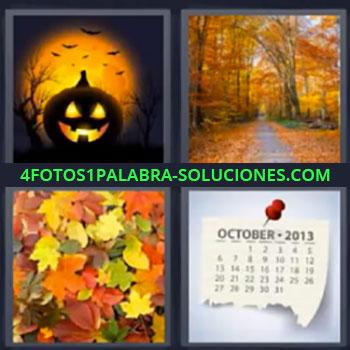4 Fotos 1 Palabra - seis-letras calabaza, Camino en bosque, Hojas de arboles, Hoja calendario Octubre