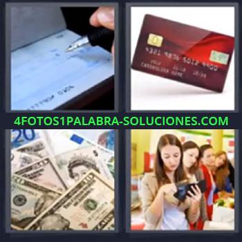 4 Fotos 1 Palabra - siete-letras chequera tarjeta, Billetes dinero, Chica con monedero
