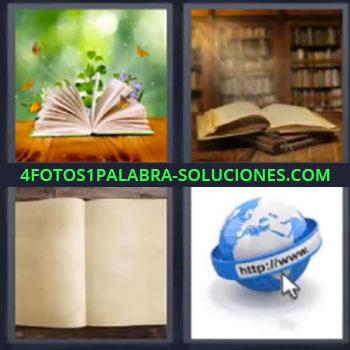 4 Fotos 1 Palabra - siete-letras libros abiertos. Libro abierto flores. Mundo internet.
