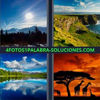 4 Fotos 1 Palabra - naturaleza. Cielo y bosque. Montañas junto al mar. Lago. Silueta jirafas y árbol a atardecer