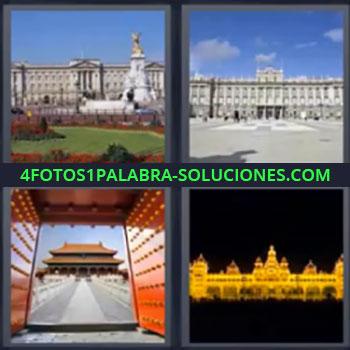 4 Fotos 1 Palabra - ocho-letras edificio oriental, Edificio antiguo con jardín delante, Edificio público, Construcción oriental o asiática, Edificio iluminado por la noche, Mansión, Castillo.