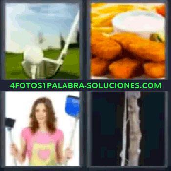 4 Fotos 1 Palabra - seis-letras golf, barritas rebozadas con salsa y patatas fritas, señora con escoba y recogedor, tronco.