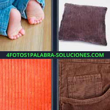4 Fotos 1 Palabra - pies de bebe. Cojín marrón. Tejido naranja. Pantalón de tela.