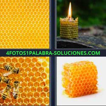 4 Fotos 1 Palabra - seis-letras colmena. Vela de cera. Celdas abejas. Avispas miel.
