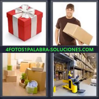 4 Fotos 1 Palabra - siete-letras cajas almacén, Caja de regalo, Hombre mensajero con caja, Cajas en mudanza, Almacén o bodega.