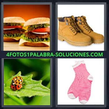 4 Fotos 1 Palabra - cinco-letras hamburguesas, Botas, Mariquitas, Calcetines.