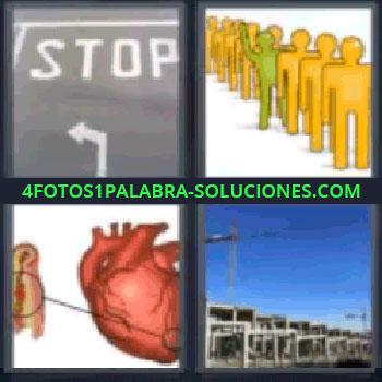 4 Fotos 1 Palabra - stop corazón, señal de stop, fila de muñecos amarillos, corazón, casas en construcción.