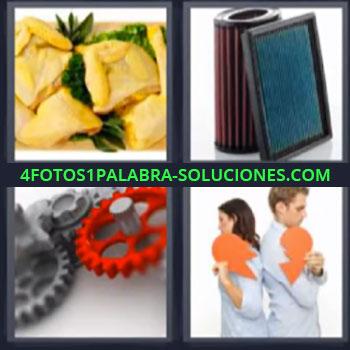 4 Fotos 1 Palabra - ocho-letras engranaje filtros, Trozos de empanada, Pareja de espaldas