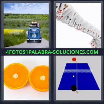 4 Fotos 1 Palabra - naranja cartas, coche azul de viaje, Cartas baraja poker, Naranja por la mitad, Mesa de ping pong.