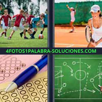 4 Fotos 1 Palabra - niños juegan futbol. Mujer jugando al tenis. Bolígrafo o pluma marcando equis. Plan o estrategia de juego.
